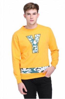 Cotton Blended Mens Round Neck Printed Sweatshirt For Winter #mensfashion #menssweater #yellowsweater #winterwearformen