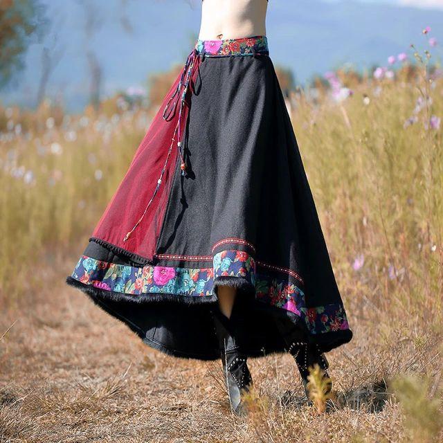 Bohochic женщин линии юбка длинная шерсть оригинальный винтаж этническая высокая талия весна осень стиль все соответствующие AR0022C Boho Chic