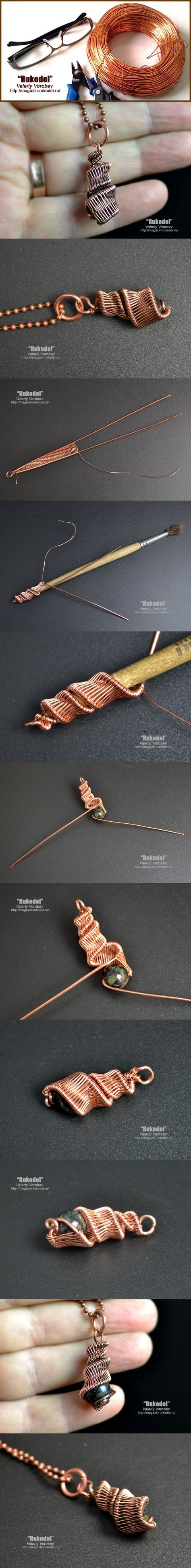 Wire wrapped pendant picture tutorial from Rukodel 623