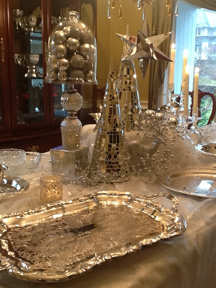 A Silver And White Christmas Buffet In New England