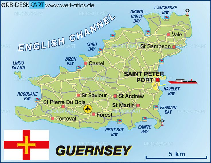 guernsey karte im Kanalinseln Reiseführer http://www.abenteurer.net/3819-kanalinseln-reisefuehrer/