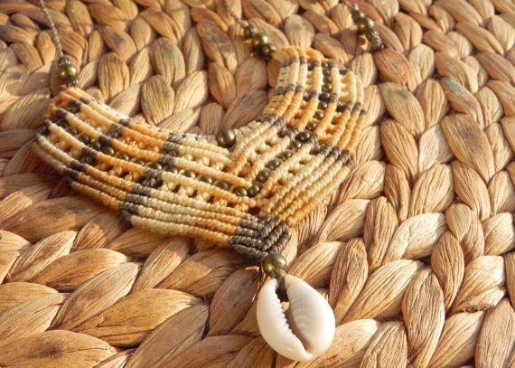 Макраме ожерелье с оболочкой бохо хиппи цыган Богемии по QuetzArt