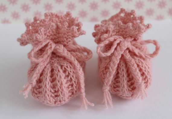 Peach Baby Booties Pretty Booties Hand Knit Booties by Pinknitting