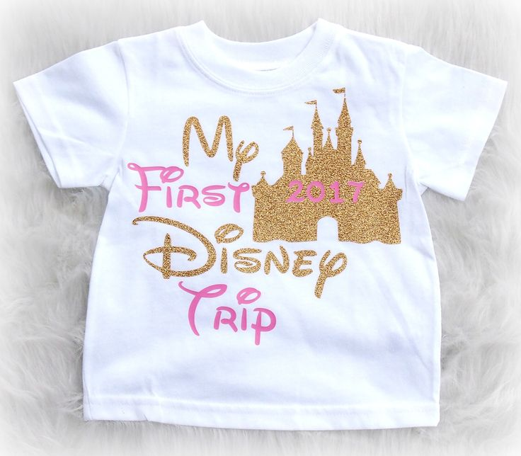 My First Disney Trip vacation shirt for infants and kids with pink and gold letters.