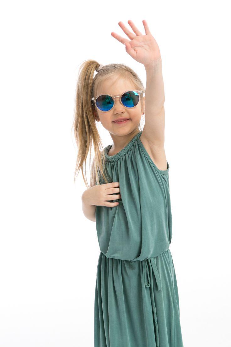 """Hello with """"The Same"""" girl dress turquoise cupro maxi  http://www.thesame.eu/kategoria/dla-dziecka/www-thesame-eu-sukienka-freddo-turkus-kids"""