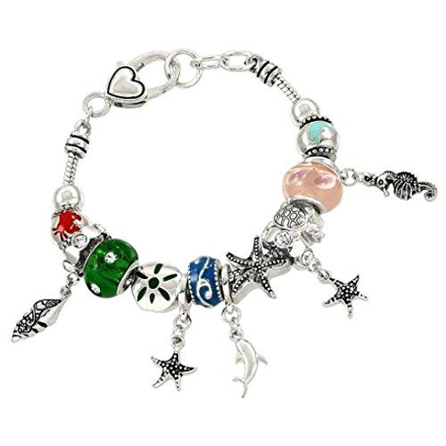 Sea Life Charm Bracelet BD Green and Pink Murano Glass Be... www.amazon.com/...