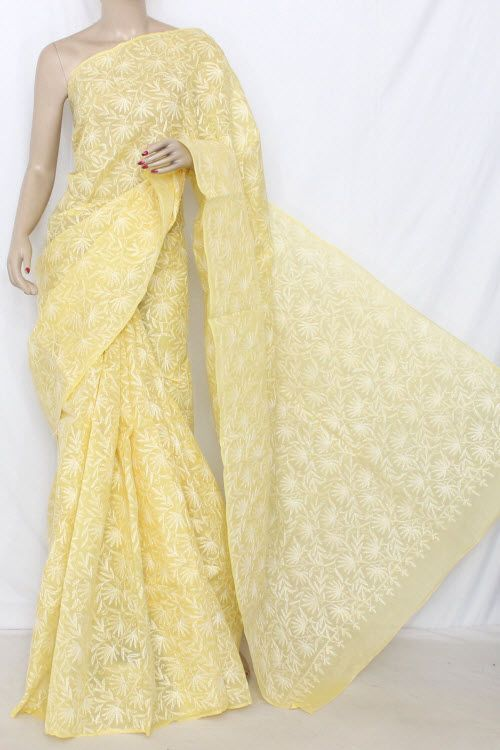 Lemon Yellow Hand Embroidered Allover Tepchi Work Lucknowi Chikankari Saree (With Blouse - Cotton) 14350