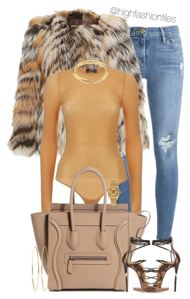 by highfashionfiles on Polyvore featuring polyvore fashion style Roberto Cavalli Wolford Frame Dsquared2 Michael Kors Rolex Jennifer Meyer Jewelry clothing