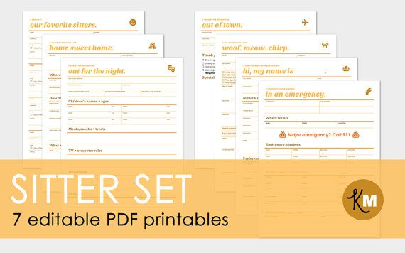 Babysitter, Pet sitter and house sitter information sheets - 7 page PDF printable forms and worksheets, $6.00