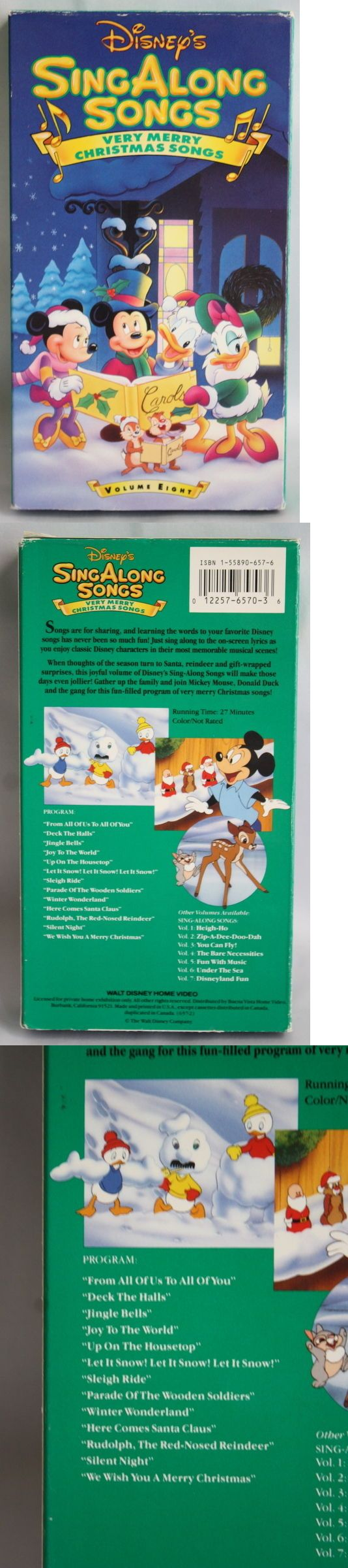 Christmas Songs And Album: Vintage Disney Very Merry Christmas Songs Sing Along Vhs Volume Eight BUY IT NOW ONLY: $9.99