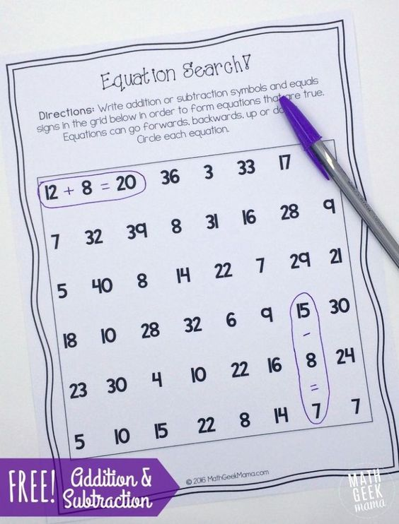 Great addition and subtraction number search for kids. Great challenge for early finishers!