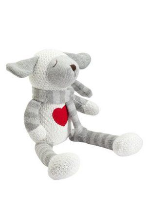 Knitted baby lamb toy