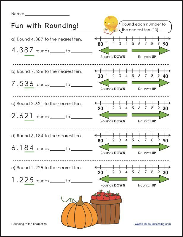 FREE Rounding Worksheet! Luminous Learning worksheets help struggling math students become more confident, successful learners. Our worksheets are designed with built-in supports, such as number lines, images of base-10 blocks or counters, graph paper to align numbers, color-coded hints and clear examples. Check back each month for more FREE math worksheets!