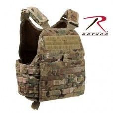 Rothco Crye-MultiCam MOLLE Plate Carrier Rothco MultiCam MOLLE Plate Carrier Vest has adjustable shoulder straps w/detachable pads, MOLLE compatible webbing covers most of vest.  Read more: http://www.aotacticalgear.com/Rothco-MultiCam-MOLLE-Plate-Carrier-Vest#ixzz31bP3gdCU