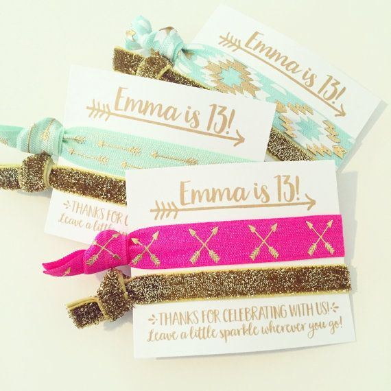 Boho Birthday Party Hair Tie Favors Gold Mint Pink by LoveMiaCo