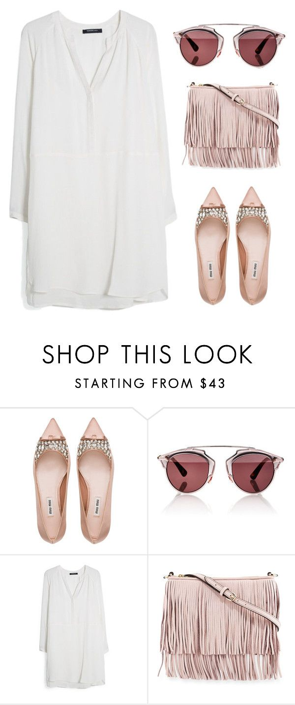 """""""Rose gold obsessed!?"""" by christyandnef on Polyvore featuring Miu Miu, Christian Dior, MANGO, Rebecca Minkoff, women's clothing, women, female, woman, misses and juniors"""