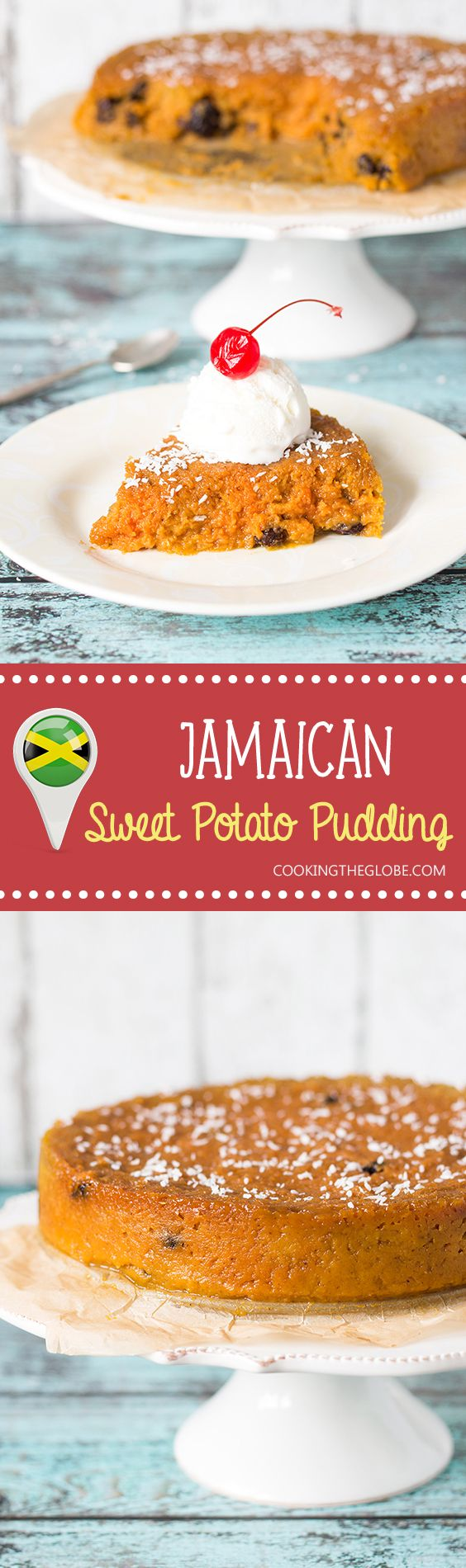 This Jamaican Sweet Potato Pudding or Pone is sweet, with a notes of cinnamon, nutmeg and vanilla!   cookingtheglobe.com