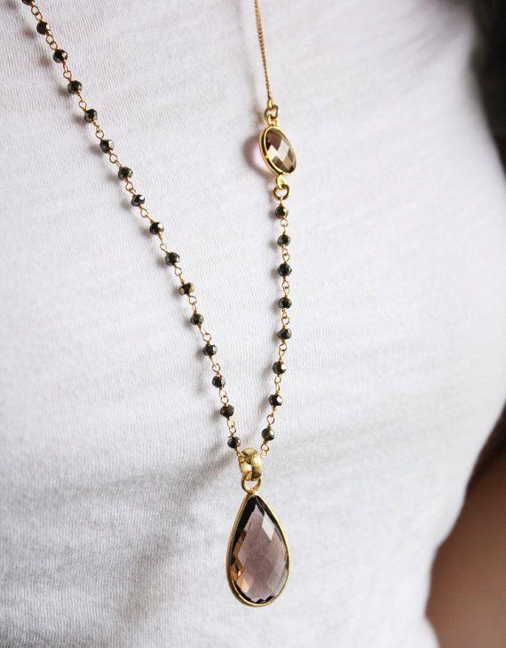 Smokey Quartz Layering Necklace by OhKuol - beautiful!