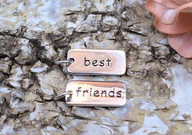 Best Friends Tag, Sterling Silver Best Friends Tag, Best Friends Charm, Best Friends Pendant, Sterling Silver Charm