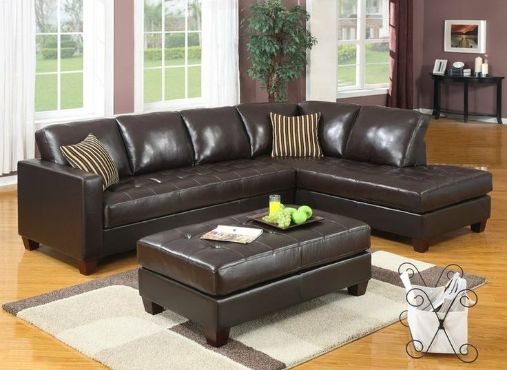 Sofa Sale  Pieces Dark Brown Bonded Leather Sectional Sofa with Left Chaise