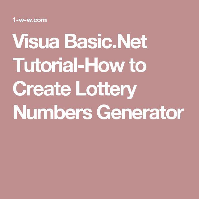 Visua Basic.Net Tutorial-How to Create Lottery Numbers Generator