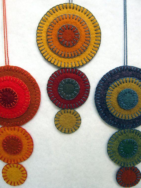 Wool Felt Penny Rug Ornaments