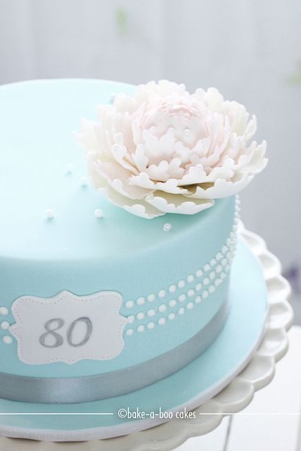 Another version of Tiffany pearls inspired Peony cake by Bake-a-boo Cakes NZ, via Flickr