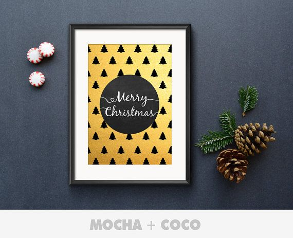 Merry Christmas Circle Trees Poster, New Year Eve Wall Art, Christmas Wall Decor, Kids Room, Printable Mocha + Coco, INSTANT FILE DOWNLOAD