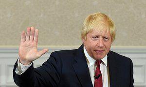 Boris Johnson finishes his speech in London on 30 June.