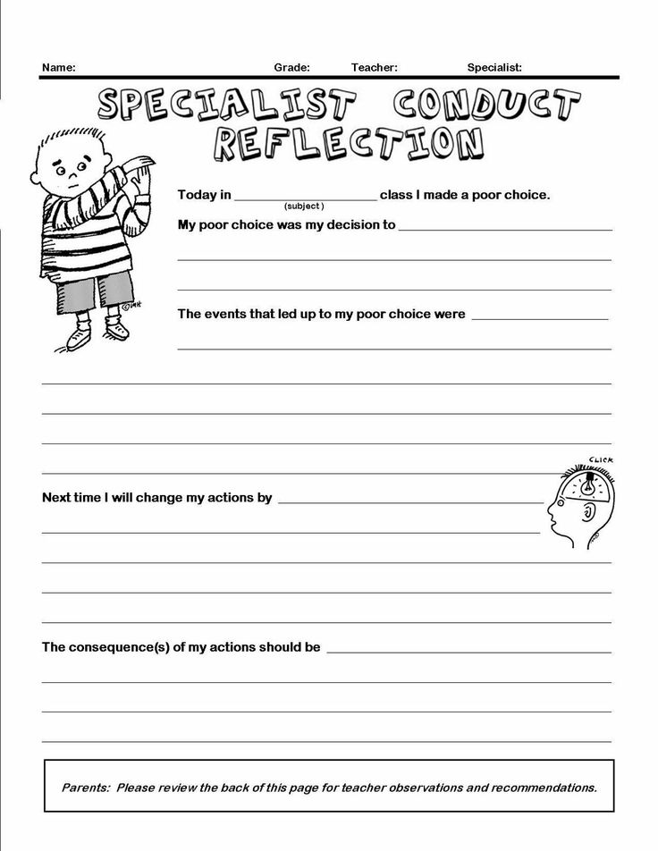 Classroom management conduct reflection form.