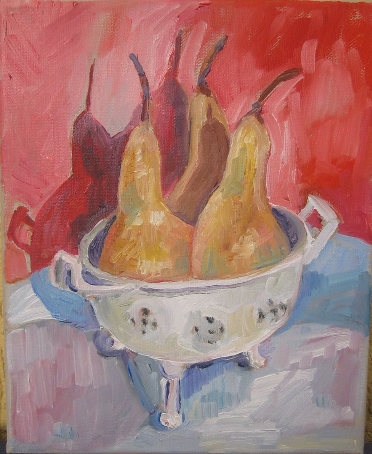 Pears and colander