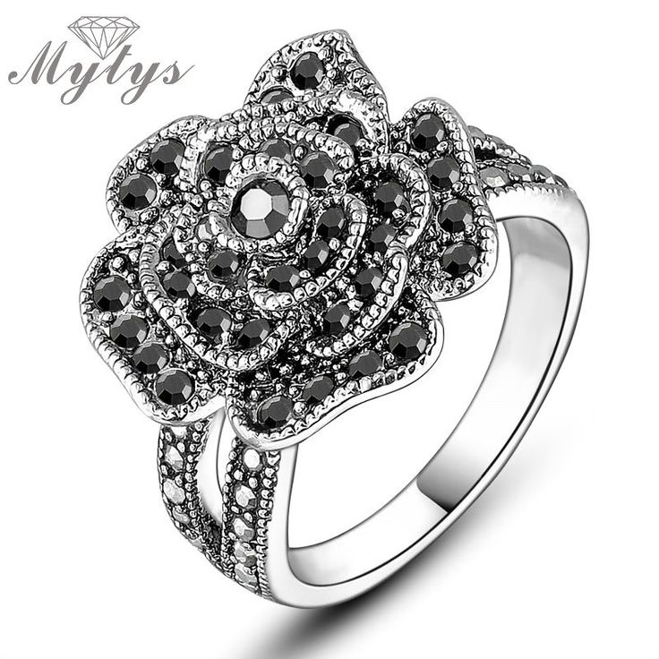 Mytys Black Rose Rings Women Fashion Zircon Invisible Setting Black Crystal Flower Ring R807