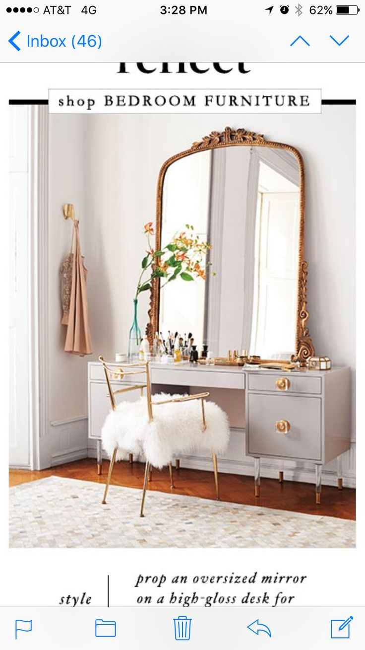 Laquer makeup table with oversized antique mirror