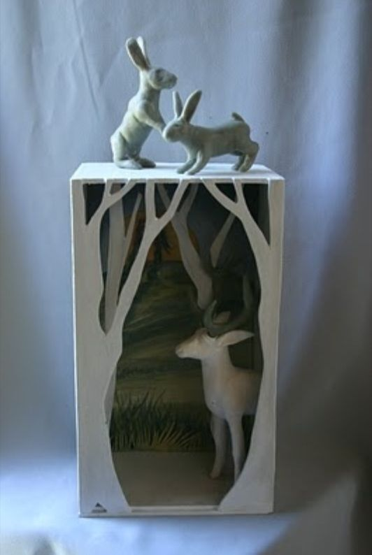 Diorama - I like the trees at the very front of the box, to immediately give the feel of entering a forest.