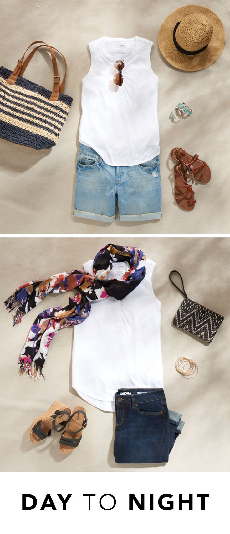 Two ways to wear the perfect white tank top. Hint: pairing with denim is a no-brainer. Featured product: SONOMA Goods for Life smocked henley tank, woven bucket tote, deconstructed boyfriend jean shorts, straw Panama hat, gladiator sandals, cuffed denim capris, printed wristlet, wedge sandals and Apt. 9 floral scarf. Find your summer style at Kohl's.