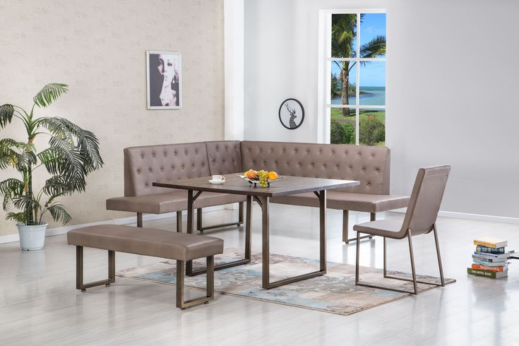 Time to revamp your dining area and maximize your space with this trendy, 4 piece corner nook set! It seems like some of the best family moments happen in t