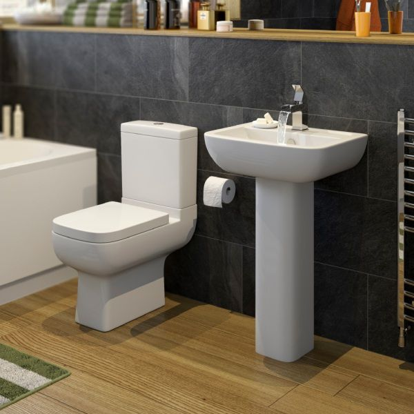 Affine Amelie Bathroom Suite With Full Pedestal Basin And Close Coupled  Toilet | Bathrooms And Kitchens | Pinterest | Pedestal Basins, Close  Coupled Toilets ...