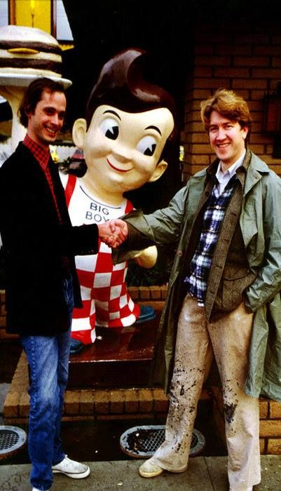 Two of my favourite men on the planet; John Waters and David Lynch shaking hands in front of a Big Boy.