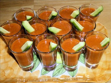 Mini Chilled Gazpacho (Tapas) @Alia MacDonald Breitengross - I want your recipe for this!