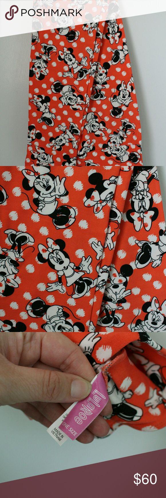 Lularoe OS Disney Minnie Mouse Polka dot leggings Brand new amazing Disney leggings!! Orange background with white dots. Cute facial expressions on each Minnie. LuLaRoe Pants Leggings