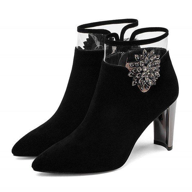 359209b9f98 New Brand Women High Heels Party Wedding Shoes Woman Sexy Zipper Short  Martin Shoes Woman Basic