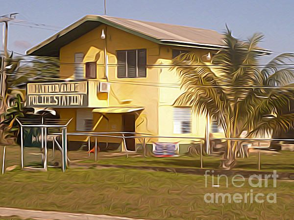 Hattieville Police Station - The Belize Collection | digital art by Jason Freedman #digitalillustration #artwork #Belize
