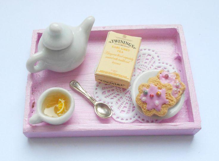 Dolls House Miniature English tea Tray 1/12th Scale - handmade miniature polymer clay food. $18.00, via Etsy.
