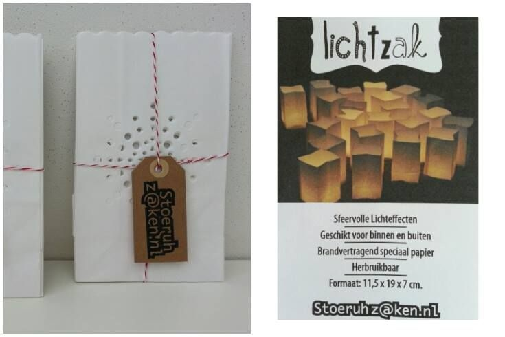 Sfeervolle opengewerkte lichtzak met schulprand.   Geschikt voor binnen en buiten.   Afm. 11,5 x 19 x 7 cm. Set van 3 stuks € 3,00  www.facebook.com/stoeruhzaken.nl