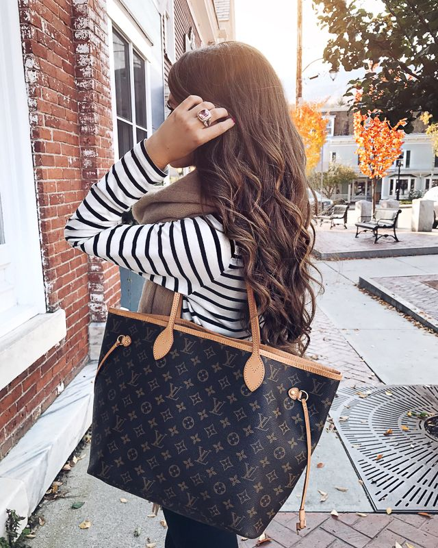 striped top, Louis Vuitton neverfull mm