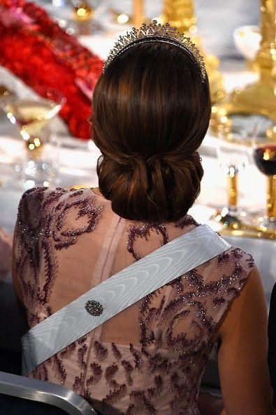 Swedish Princess Madeleine's hair detail during the Nobel Prize Banquet 2014 at Concert Hall in Stockholm, Sweden