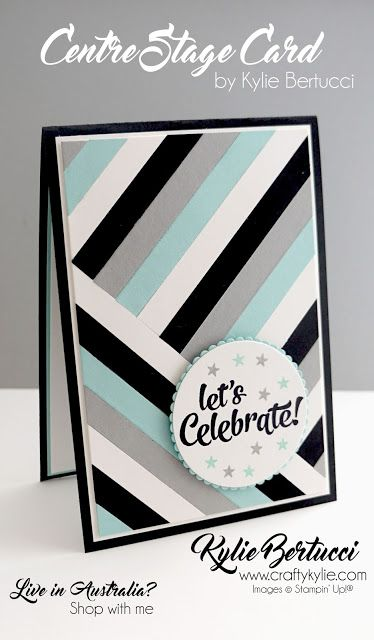 handmade celebration card by Kylie Bertucci  ... look of strip quilting ... like the colors in even rotation  ... bold graphic look in black, white, gray and aqua ... Stampin' Up!