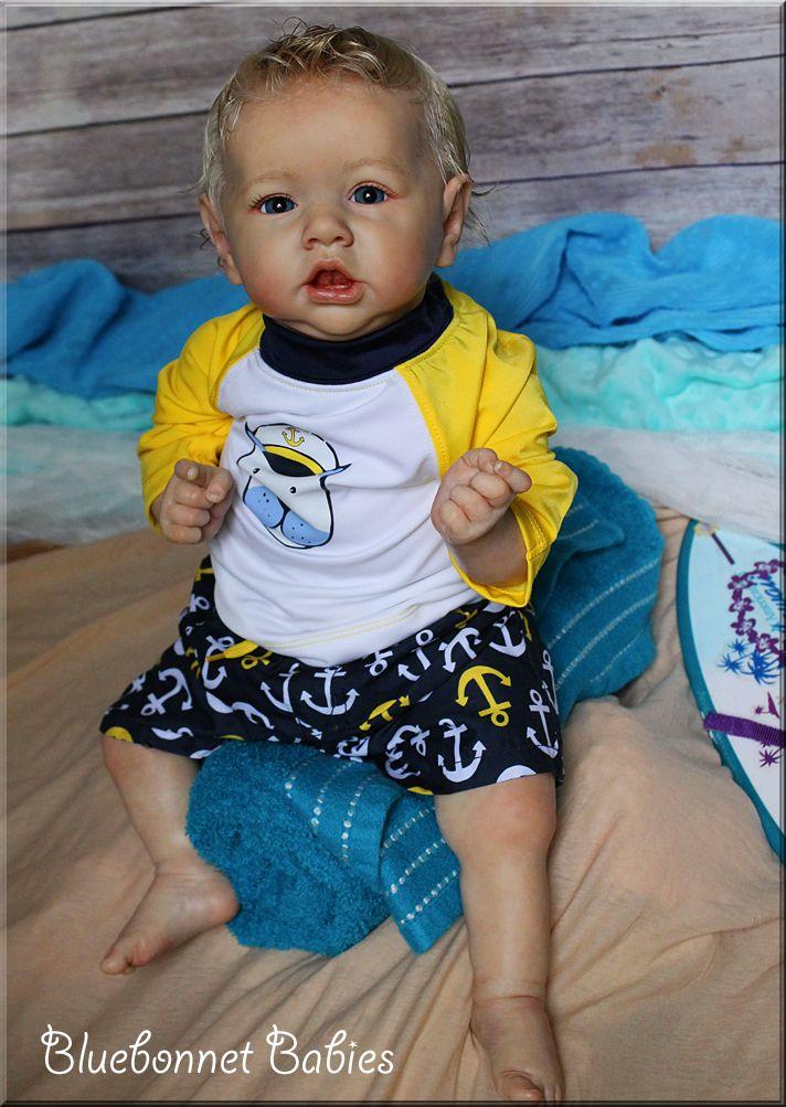 Blonde Baby Boy: Reborn Saskia doll kit by Bonnie Brown now Jonathan by Bluebonnet Babies. On eBay 7/7/16!