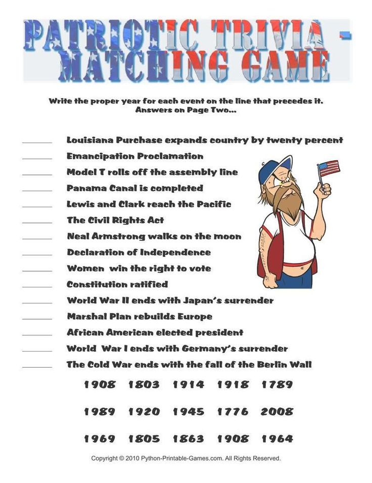 This is a photo of Zany 4th of July Trivia Printable
