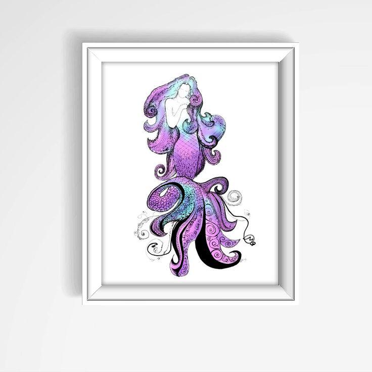 Mermaid Print, Purple Mermaid Poster, Coastal Decor, Nautical Print, Bathroom Art, Beach House Art, Mermaid Decor, Mermaid Drawing by KateKreatesArt on Etsy